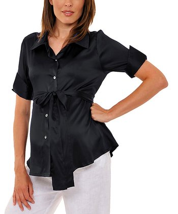 Black Sash Lois Silk Maternity Short-Sleeve Button-Up