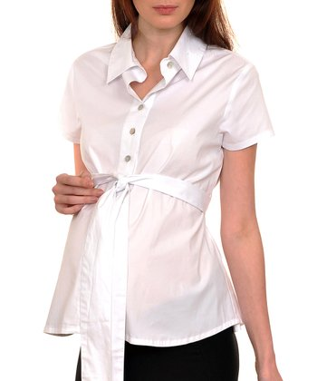 White Gabi Maternity Short-Sleeve Button-Up