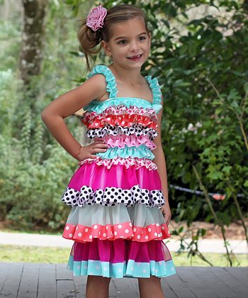 Magenta & Aqua Polka Dot Tiered Ruffle Dress - Toddler & Girls