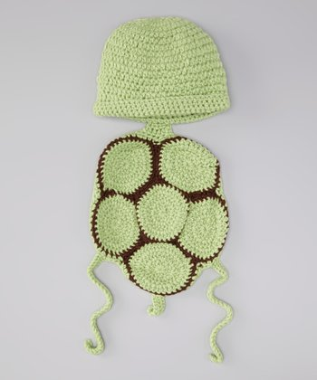 Green Knit Turtle Shell Wrap Beanie