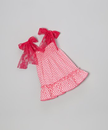 Hot Pink Zigzag Doll Dress