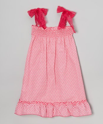 Hot Pink Zigzag Lace Dress - Toddler & Girls