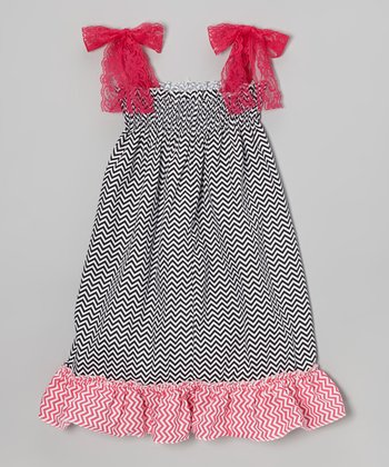 Black Zigzag Lace Dress - Toddler & Girls