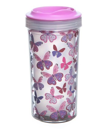 Pink 10-Oz. Butterfly Tumbler - Set of Two