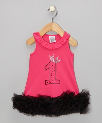 Hot Pink & Black '1' Crown Ruffle Dress - Infant