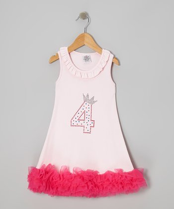 Pink '4' Crown Ruffle Dress - Toddler
