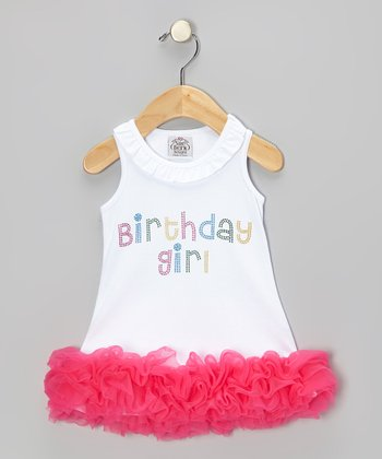 White & Pink 'Birthday Girl' Dress - Infant, Toddler & Girls
