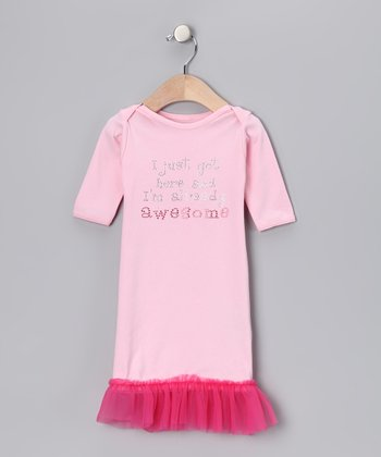 Pink 'I Just Got Here' Ruffle Gown - Infant