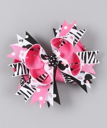 Hot Pink & Black Zebra Hair Bow