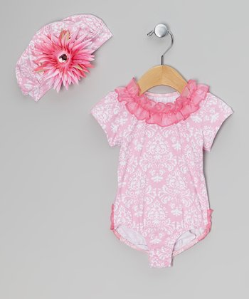 Hot Pink Damask Bodysuit & Hat - Infant