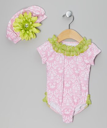 Pink & Green Damask Bodysuit & Hat - Infant