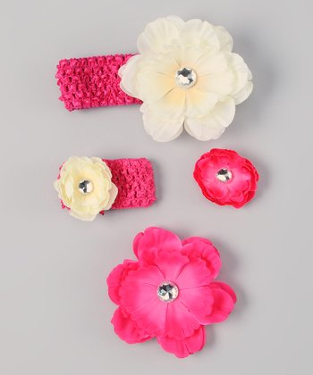 Hot Pink & Ivory Flower Headband & Doll Headband Set