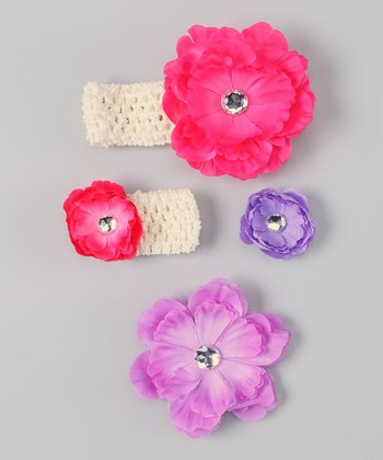 Hot Pink & Lavender Flower Headband & Doll Headband Set