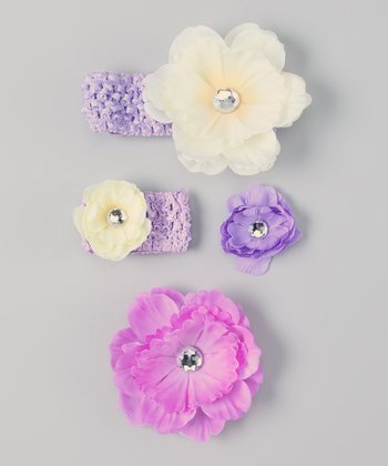 Lavender & Ivory Flower Headband & Doll Headband Set