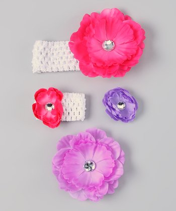 Lavender & White Flower Headband & Doll Headband Set