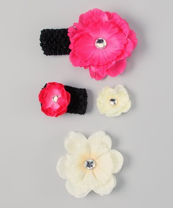 Ivory & Black Flower Headband & Doll Headband Set