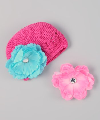 Hot Pink & Turquoise Interchangeable Flower Crocheted Beanie Set