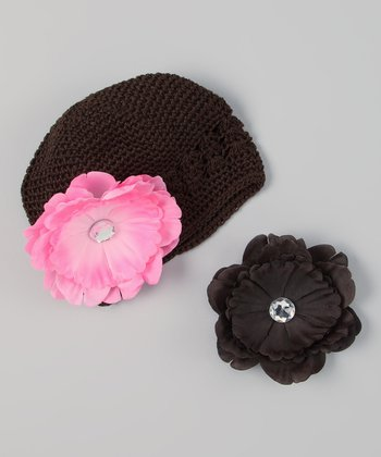 Brown & Light Pink Interchangeable Flower Crocheted Beanie Set
