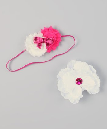 Hot Pink & White Interchangeable Flower Headband Set