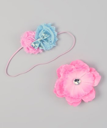 Light Pink & Sky Blue Interchangeable Flower Headband Set