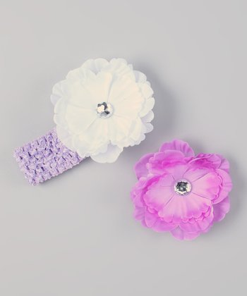 Lavender & White Interchangeable Peony Crocheted Headband Set