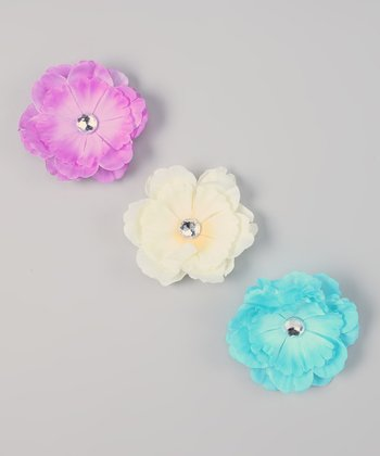 Teal, Ivory & Lavender Interchangeable Flower Clip Set