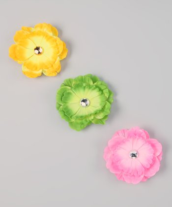 Yellow, Green & Light Pink Interchangeable Flower Clip Set