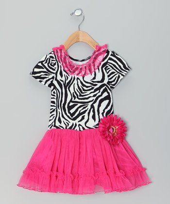 Hot Pink Zebra Flower Dress - Toddler & Girls