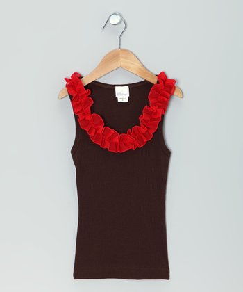 Red & Brown Ruffle Tank - Girls