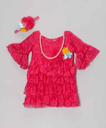 Fuchsia Tiered Peasant Dress Set - Infant & Toddler