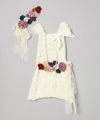 Ivory Floral Lace Ruffle Dress Set - Infant