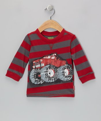 Red & Gray Stripe Monster Truck Tee - Infant & Toddler