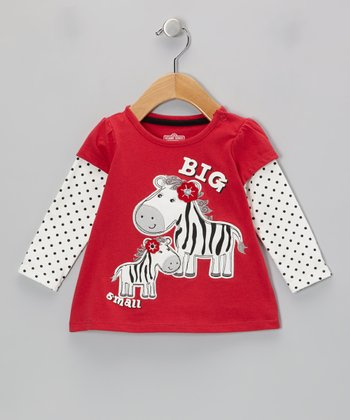 Red 'Big & Small' Zebra Layered Tee - Infant