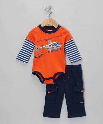 Orange Helicopter Layered Bodysuit & Navy Cargo Pants - Infant