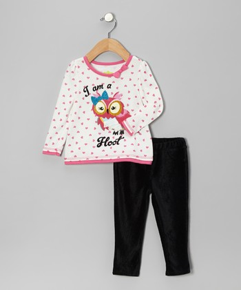 Beige Polka Dot 'Hoot' Tee & Black Pants - Infant & Toddler