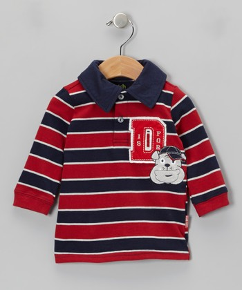 Red & Navy Stripe 'D Is for Dog' Polo - Infant & Toddler