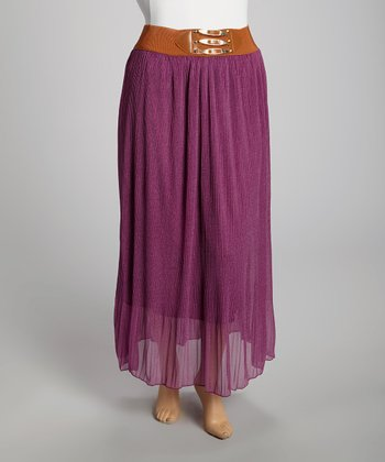 Plum Chiffon Maxi Skirt - Plus