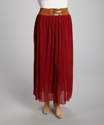 Wine Chiffon Maxi Skirt - Plus