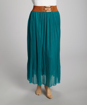 Teal Chiffon Maxi Skirt - Plus