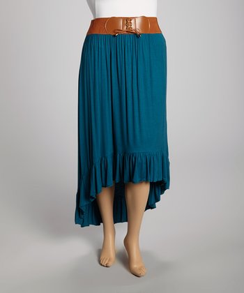 Teal Hi-Low Skirt - Plus