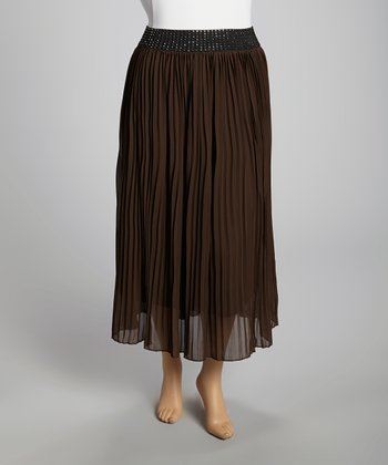 Brown Sparkle Chiffon Maxi Skirt - Plus