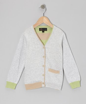 Mint & Gray Stripe Back Cardigan - Toddler & Boys