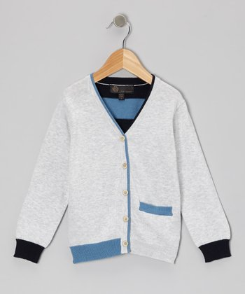 Navy & Gray Stripe Back Cardigan - Toddler & Boys