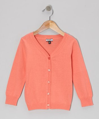 Coral Solid Cardigan - Girls