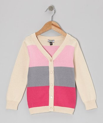 Pink & Tan Heavy Stripe Cardigan - Girls