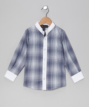 Navy Plaid Collarless Shirt - Infant, Toddler & Boys