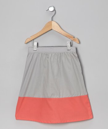 Gray & Coral Color Block Full Skirt - Toddler & Girls