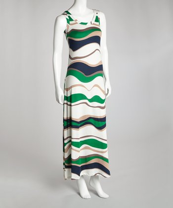 Green & White Maxi Dress