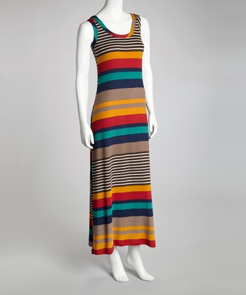 Gray & Red Stripe Maxi Dress