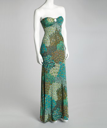 Blue & Green Peacock Strapless Maxi Dress